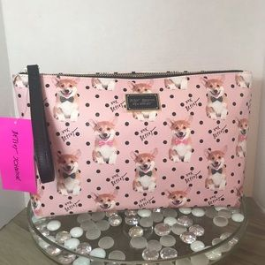 Betsey Johnson Dog Corgi Cosmetic Makeup Bag